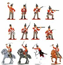 """Napoleonic British Toy Soldiers 16 Pcs Cavalry Infantry Painted Plastic 2.5"""""""