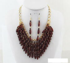 Gold Toned Necklace With Brown Beads and Matching Dangling Earrings
