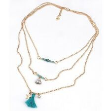 Multilayer Tassel Rhinestone Pearl Long Chain Crystal Pendant Necklace Jewelry
