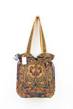 Mocha Bird Hill Tribe Tote Bag with Draw String Thai Hmong Embroidered