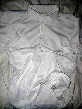 NIKE GOLF PURE WHITE BRONZE LOGO FIT DRY PERFORATED VENT POLY CASUAL SHIRT-NEW-L