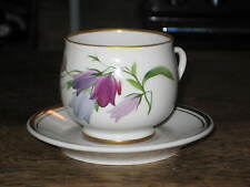 LOMONOSOV RUSSIAN PORCELAIN CUP & SAUCER PAINTED VIOLET DESIGN