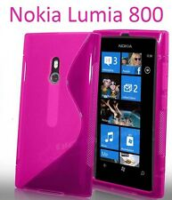 TPU gel silicone case cover S-line pink rose for Nokia Lumia 800