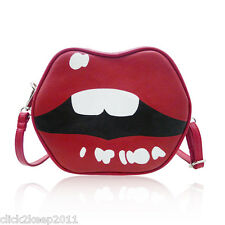 Ladies Girls Faux Leather Lips Cross Body Messenger School Bag Shoulder Handbag