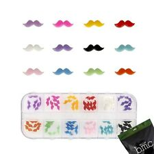 BMC 60pc Mix Color Acrylic Mustache DIY 3D Nail Art Cabochon Stud Decoration Set