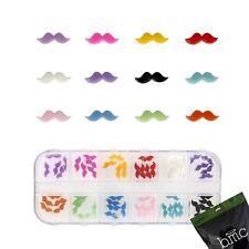 BMC 60pc Mix Color Acrylic Mustache DIY 3D Nail Art Cabochon Stud Decoration Set
