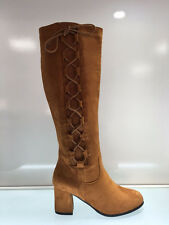 LADIES WOMENS KNEE HIGH CAMEL SUEDE FAUX HIGH HEEL BOOTS SHOES SIZE 7