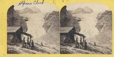 STEREOVIEW OF ROSENLAUI GLACIER GORGE   CABIN W/ SEVERAL MEN-SUISSE, SWITZERLAND