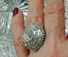 NEW HUGE STERLING SILVER 2 1/2 CARAT DIAMOND COCKTAIL CLUSTER WEDDING RING$1299