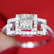 1.20ct Diamond Princess Cut Engagement Ring Natural Diamonds in 14k White Gold