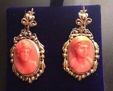 X-tra Fine Large Antique Coral Cameo Earrings in 14k Gold