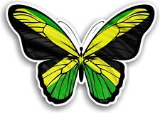 Beautiful Butterfly Design & Jamaica Jamaican Flag Vinyl car sticker Decal