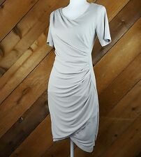 H&M Small Womens Dress Bodycon Side Ruched Faux Wrap Gray Day to Night