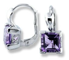 Woman's Earrings 14k White Gold Square Cut 3 ctw Amethyst