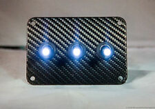 3 HOLE Carbon Fiber 3D WRAP w/ LED toggle switches - WHITE