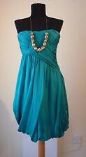 NWT ZARA GREEN TURQUOISE PURE SILK BANDEAU GRECIAN MINI DRESS XS EXTRA SMALL 6 2
