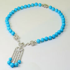 "Sleeping Beauty Turquoise 16.5"" necklace 14k Solid White Gold Diamond"