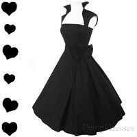 New Black Full Skirt 50s Rockabilly Pinup Swing Dress Bow Bridal Party S M L 2X