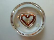 "Czech Moser Crystal Paperweight with Rosalin Heart, Marked ""Moser"""