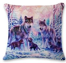 "Purple Home Decor  Linen Cushion Cover Pillowcase Sofa 45cm/18"" Bird Wolf #6 F"