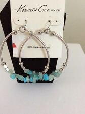 $35 Kenneth Cole Turquoise Stone Chip Gypsy Hoop Earrings #500