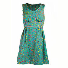 LADIES STRAPLESS DAY MINI TEA DRESS BIRD PRINT NAVY BLUE GREEN SKATER SHAPE 8