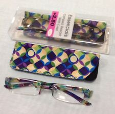 LOT OF 2 PAIRS FOSTER GRANT COMPACT/RIMLESS READING GLASSES W. CASES +2.50 NEW