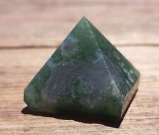NATURAL MOSS AGATE SMALL GEMSTONE PYRAMID 20-22mm