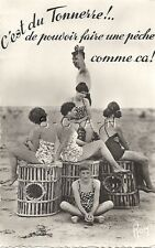 Original 1940s-60s French PC- Women in Swimsuits at the Beach- Whicker Baskets