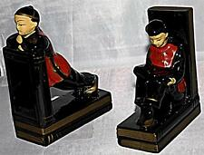 LOVELY SMALL UNUSUAL VINTAGE BLACK ORIENTAL JAPANESE PEOPLE BOY GIRL BOOKENDS