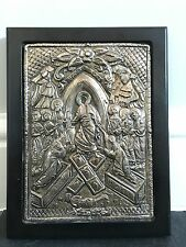 Antique Russian Religious Orthodox Icon Silver Oklad Jesus Christ Resurrection