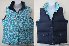 American Eagle Reversible Goose Down Puffer Vest Navy Blue Turquoise Floral Med