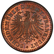 """""""FINEST KNOWN"""" @ PCGS & NGC GERMAN HELLER 1864 PCGS MS66 RB UBER-COOL-GEM TONED"""