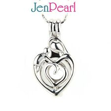 Save BULK! 5pcs MOMMY & KID LOVE Wish Locket Cage Silver Pendant for pearl
