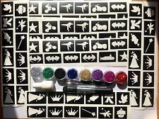 GLITTER TATTOO KIT SUPERHERO and PRINCESS 110 stencils glitters glue  MADE in UK