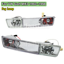 Front Bumper Clear Lens Fog Lamp Light For Volkswagen VW Jetta Golf MK3 93-98