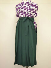 VINTAGE JINKEN WOMENS HAKAMA For Graduation/Coming of Age:Dark Green@M08a