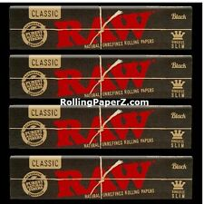 FOUR Packs of RAW BLACK Double Pressed CLASSIC KING SIZE SLIM ROLLING PAPERS