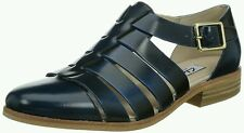New Clarks Hotel Bustle Navy Leather Casual Flat Shoes Size UK 6.5/40