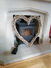 XL Large Willow Wicker White Wreath 70cm Heart - Shabby Chic Rustic Wall Hanging