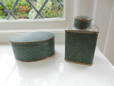 Pair Antique Silver-Plate & Shagreen Tea Caddy Canister
