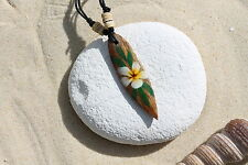 NEW WOODEN RETRO FLOWER SURFBOARD NECKLACE SURFER SURF LUCKY TALISMAN / n243b