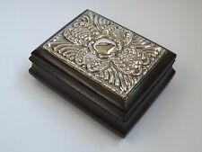 Vintage Silver Topped Wooden Jewellery / Trinket Box