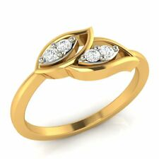 14k Yellow Gold 0.06 ct 100% Certified Natural Round Diamond Leaf Ring Sizable