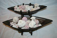 """PAIR OF 17"""" WOOD DECORATIVE BOWLS WITH ASSORTED CORAL PIECES"""