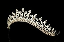 Gold Bridal Pageant Rhinestones Crystal Pearls Wedding Crown Tiara 7183