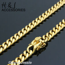 """8.5""""MEN Stainless Steel 7x3mm Gold Tone Miami Cuban Curb Link Chain Bracelet"""
