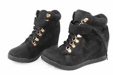 NWT Womens New Look Black Faux Suede Ankle Boots Wedge Size 6 UK RRP £27.99
