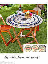 """mosaic tile Elastic fitted vinyl outdoor 48"""" round patio table cover tablecloth"""