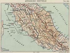 APPENNINI:APPENNINO CENTRALE:UMBRO-MARCHIGIANO E ABRUZZESE.Carta Geografica.1899
